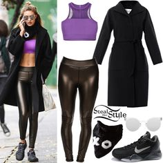 Gigi Hadid out and about in SoHo. November 2nd, 2015 - photo: PacificCoastNews  Gigi Hadid was spotted leaving a gym in Soho on Monday wearing a Tully Lou Luxe Crop Top ($74.95 – wrong color), Joe's Jeans Suvi Off Duty Legging ($54.99), a Max Mara Lilia Double-Faced Cashmere Felt Blanket Coat ($4,890.00), The Hug Me Bandana by Jocelyn ($215.00), Quay Australia Kosha Mirror Round Sunglasses ($50.00) and a pair of Nike Zoom Kobe VII Sneakers ($224.99+).