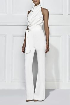 Sexy Pure Colour Belted Off-Shoulder Sleeveless Jumpsuits Fashion Solid Color Sleeveless Stant Collar Jumpsuit White Fashion, Look Fashion, Latest Fashion For Women, Womens Fashion, Elegantes Outfit, Jumpsuit Pattern, Looks Style, Mode Style, Fashion Dresses