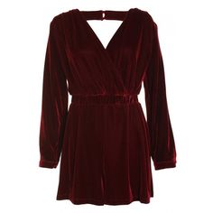 Deep Wine Velvet Long Sleeve Draped Back Playsuit ($32) ❤ liked on Polyvore featuring jumpsuits, rompers, dresses, playsuits, jumpsuit, romper jumpsuit, red long sleeve jumpsuit, red jumpsuit, red jump suit and red romper