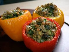 Bal Arneson's Indian Vegetarian Stuffed Peppers - filled with potatoes, spinach and brown rice!
