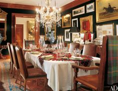 Designer Ralph Lauren opens up the doors of the the Norman-style stone manor house that he shares with his wife, Ricky, in Bedford, New York Ralph Lauren House, Ralph Lauren Style, Ralph Lauren Home Living Room, National Tartan Day, Bedford New York, Private Dining Room, Dining Rooms, Dining Furniture, Christmas Interiors