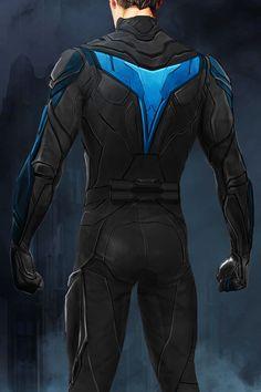 "New concept art of Nightwing in DC Universe's ""Titans"" by Alan Villanueva Superhero Suits, Superhero Design, Comic Style Art, Comic Styles, Super Hero Outfits, Super Hero Costumes, Dc Comics Art, Batman Comics, Batman Redesign"