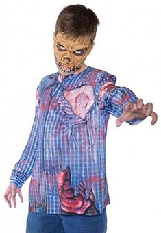 Zombie Photo Real Top Costume For Kids M, Girl's, Size: Medium, Multi Zombie Kid, Zombie Shirt, Wet T Shirt, Under Armour Hoodie, Sweater Design, Halloween Costumes For Kids, Black Hoodie, Kids Shirts, Discount Sites
