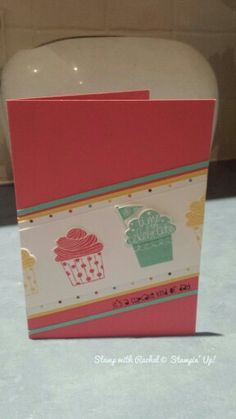 Stampin up cupcake party stamp set and sweet taffy dsp.
