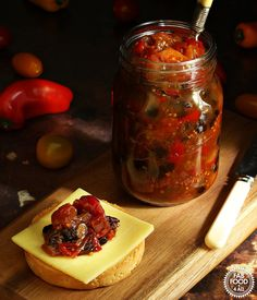This easy to make Spicy Baby Tomato & Sweet Pepper Chutney dances on the tongue with notes of sweet, sour & spice. Chilli Chutney Recipes, Spicy Tomato Chutney, Indian Chutney Recipes, Tomato Relish, Curry Recipes, Mini Sweet Peppers, Stuffed Sweet Peppers, Baby Tomatoes, Cherry Tomatoes
