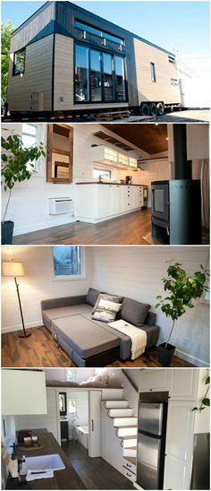 The Chene is a nice tiny house built by Minimaliste. This tiny house builder is located in Quebec and built this tiny house to withstand the harsh Canadian winters.  The Chene features red oak engineered wood flooring, 6-inch pine siding painted white, and 8-inch knotty pine ceiling planks stained to match the flooring. These surfaces combine to provide a warm yet bright interior.