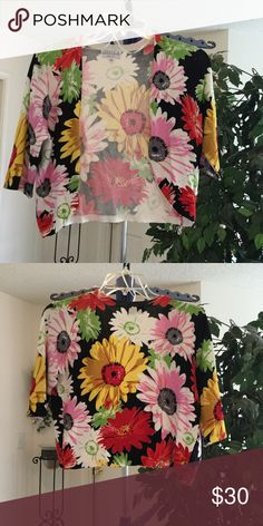 Flowered  Sweater Shrug Vibrant Colorful Cropped Sweater. New Sweaters