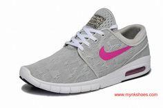 Nike SB Stefan Janoski Max Light-grey Pink Skateboarding Shoes For Women
