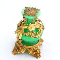 victorian era perfume bottles   Victorian Era (c.1850-1880) Opaline Glass bottle with ormolu