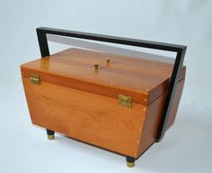Vintage Mid Century Modern Wood Sewing Box. $70.00, via Etsy.