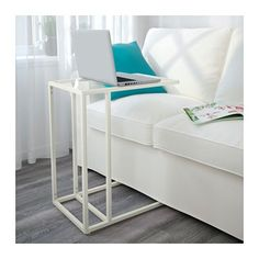 Buy IKEA VITTSJÖ Laptop Stand Glass in White Color. Made of tempered glass and metal, hardwearing materials that give an open, airy Days Money Back Guarantee! Ikea Vittsjo, Ikea Side Table, Best Ikea, Bed Tray, Ikea Furniture, Home Furnishings, Storage, Home Decor, Minimalist Home