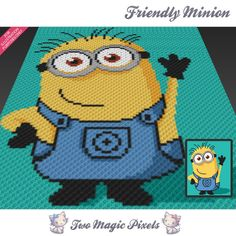 Friendly Minion, Despicable Me inspired c2c graph crochet pattern; instant download; baby blanket, corner to corner pixel, afghan, graphghan by TwoMagicPixels, $3.79 USD