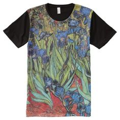 Van Gogh Irises Impressionism Classic Art Garden All-Over-Print T-Shirt - click/tap to personalize and buy Vintage Colors, Vintage Floral, S Shirt, Shirt Style, Medical Icon, Zombie T Shirt, Stylish Shirts, Mandala Art, Printed Shirts
