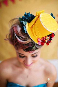 Whimsical Mini Top Hat Wedding Hat yellow Pink Red by TwoBackFlats, $125.00