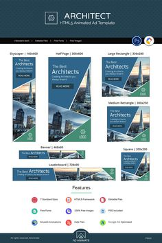 ARCHITECT BANNER business banner template is perfect marketing solution for interior designers, Architecture Design, Digital Banner, Political Ads, Best Architects, Web Design Services, Design Websites, Web Banner Design, Display Ads, Best Templates
