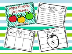 Adorable and FREE graphic organizers for teaching about apples