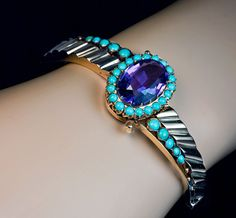Antique Russian 1800s Amethyst Turquoise Bangle