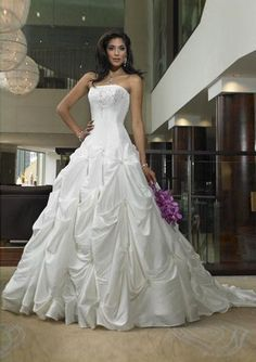 Ball-Gown Strapless Chapel Train Taffeta Wedding Dresses with Embroidery Beadwork