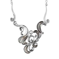 Sterling Silver and Gray Mother of Pearl Swirling Statement Necklace