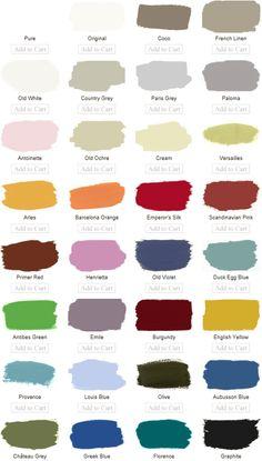 annie sloan chalk paint colors - the BEST paint ever for furniture refinishing! Annie Sloan Chalk Paint Colors, Annie Sloan Paints, Paint Colours, Chalk Paint Projects, Chalk Paint Furniture, Wood Projects, Craft Projects, Paint Color Pallets, Sidewalk Chalk Paint