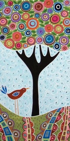 Bird Under Blooming Tree - Karla Gerard Portfolio Gallery | ArtWanted.com