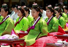 Students during tea ceremony in South Korea