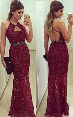Halter Sleeveless Floor-length Mermaid Lace Prom Dresses 2017