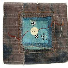 """Part of the window series.September holds shift.So well.And a sense of Winter's Coma.8"""" x 7.5""""Cotton Linen Hand dyed indigofinished back"""