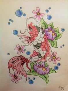 Japanese Embroidery Fish Koi Fish Tattoo Design by KhloeAlyssa - Japanese Koi Fish Tattoo, Koi Fish Drawing, Fish Drawings, Small Music Tattoos, Small Cross Tattoos, Pisces Tattoo Designs, Tree Tattoo Designs, Design Tattoos, Cute Tattoos