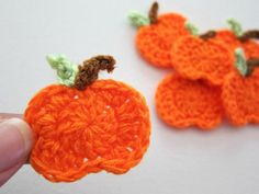 This item is unavailable Crochet Hair Clips, Crochet Hair Styles, Crochet Earrings, Pumpkin Applique, Mini Pumpkins, Sewing Rooms, Green And Brown, Unique Jewelry, Handmade Gifts