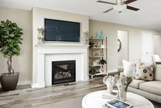 Attractive Tile Fireplace With Mantle Arlington Model Home Great Room Thornton Colorado