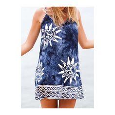 Sun Pattern Navy Blue Strappy Straight Dress ($20) ❤ liked on Polyvore featuring dresses, navy blue, sleeveless dress, spaghetti strap dress, print dress, strappy dress and animal print dress