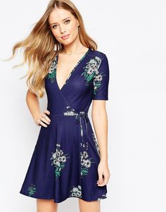 ASOS+Tea+Dress+with+Wrap+Front+in+Floral+Print