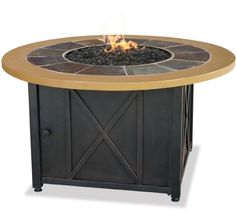 Uniflame GAD1362SP Handcrafted Slate Tile / Faux Wood Mantle Hidden Control Panel with Electronic Ignition Includes Bronze Glass Simple Assembly ? No Tools Needed LP Gas Tank Not Included. Warranty - 1 Year Limited (Discontinued by Manufacturer)