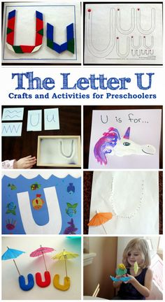 The Letter U - Crafts and activities for preschoolers learning the alphabet. Letter U Crafts, Abc Crafts, Preschool Crafts, Preschool Ideas, Craft Ideas, Preschool Letters, Alphabet Activities, Kindergarten Activities, Alphabet Letters