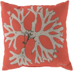 Orange and White Coral Image Pillow - 20 x 20