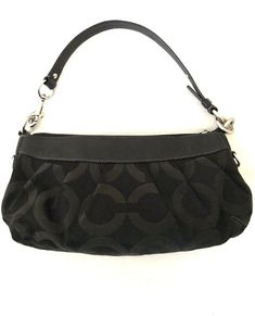 51caa54b919d Coach Madison black jacquard baguette bag * Height, Width, Strap, Depth *  Pull zipper closure and Single black leather strap * Signature C op art  front and ...