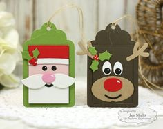 Santa and Reindeer Christmas Tags by Jen Shults
