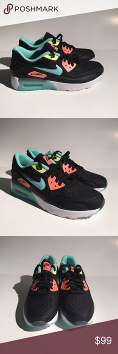 NIKE AIR MAX 90 ULTRA SE SHOES PINK BLACK TEAL NIKE AIR MAX 90 ULTRA SE  SHOES PINK BLACK TEAL SIZE 7Y 844600-001 NEW SIZE: 7Y (WOMENS 8.5) NEW W/  BOX ALL ...