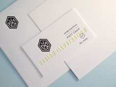 Letterpress business cards on Pearl White Lettra.