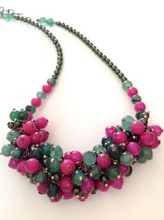 COLORFUL BEADED NECKLACE deep pink pine green by ERYCOLLECTION, $25.00
