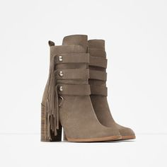 HIGH HEEL LEATHER ANKLE BOOT WITH FRINGES ZARA REF. 5102/001 4,790.00 MKD