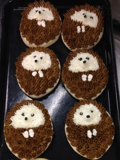 Hedgie Cookies. These hedgehog cookies are super cute! Would be ideal for a woodland or forest friends themed baby shower or birthday party