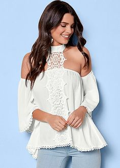 Trim at sleeve openings and at the bottom hem add subtle touches to continue to soften this Lace Choker Detail Blouse. Dress Outfits, Girl Outfits, Fashion Outfits, Casual Outfits, Women's Fashion, Dresses, Venus Clothing, Venus Tops, Lacy Tops