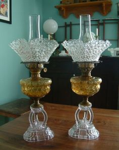 Pair Matching Antique Cathedral Amber Amethyst Oil Lamps w Hobbs Shades | eBay