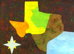 Cartography Collage: Texas Regions.  I created this 4th Grade project to merge artistic processes with Texas state Social Studies objectives. Students created layers of textures of poster paint and acrylic on construction paper using hair combs, sponges, and punchinella ribbon. A key goal in the assignment was to portray landforms indicative of the 4 Texas regions. Once elements had all dried, the regions and compass rose were stencil-traced, cut out, assembled, and pasted in place.