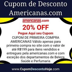 5f961669d6b Cupom de Desconto 20% OFF Americanas.com CUPOM DE PRIMEIRA COMPRA  AMERICANAS Válido apenas