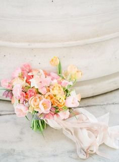 pastel colored bridal bouquet, pink and yellow hued bridal bouquet   Alicia Lacey Photography