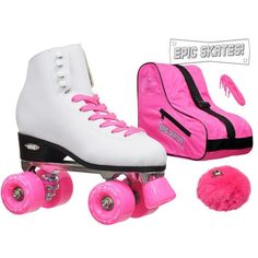 Epic Classic High-Top Quad Roller Skates with Pink Wheels Package