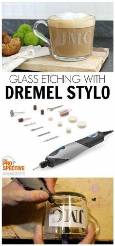 Glass Etching with the Dremel Stylo - Jaime Costiglio Dremel 3000, Dremel Werkzeugprojekte, Dremel Wood Carving, Dremel Rotary Tool, Dremel Bits, Dremel Tool Projects, Dremel Ideas, Etching Tool, Wood Etching